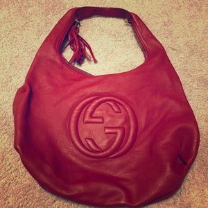 Authentic rare red Gucci Soho hobo bag